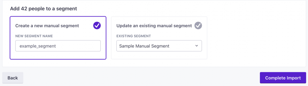 Complete import and create a new manual segment